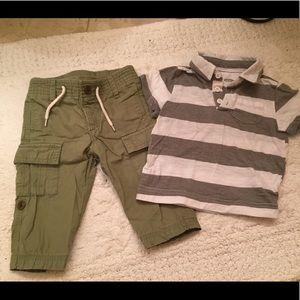 Short sleeve polo shirt and khaki pants
